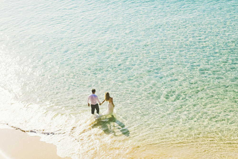 Maui trash the dress wedding photography portrait beach session at big beach morning