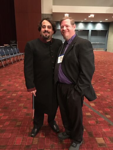 """Conductor Michael Isadore and composer Jason K. Nitsch at the World Premiere of """"I Find You Slightly Amusing"""" in 2017"""