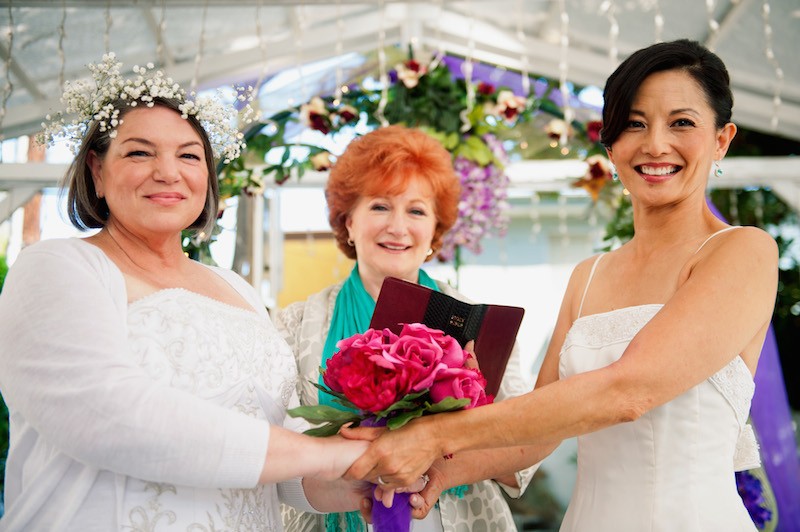 Mindy Cohn and Tamlyn Tomita in Operation Marriage