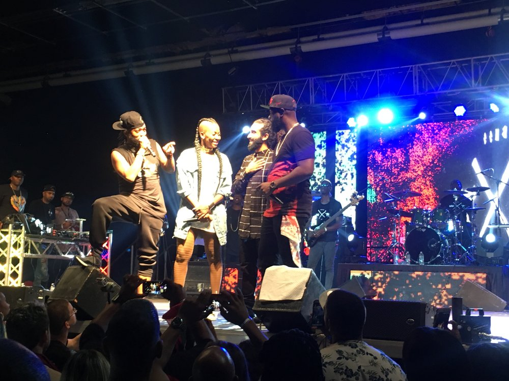 Machel and Bunji thanking Fay-Ann Lyons and Che Kothari for bringing them together