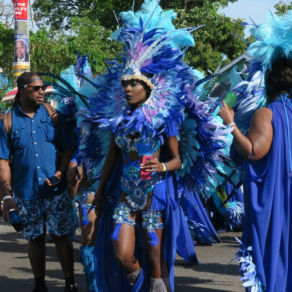 Masqueraders on the road in Nassau, Bahamas