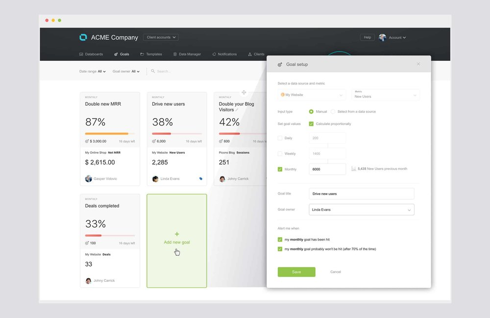 Goals setting with Databox