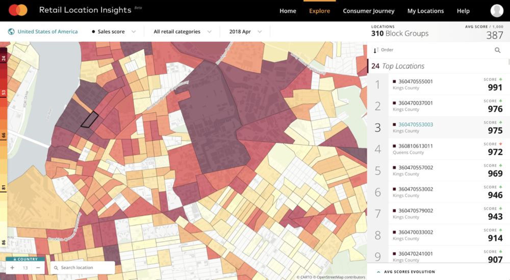 CARTO BI example of demographic spending with data from MasterCard