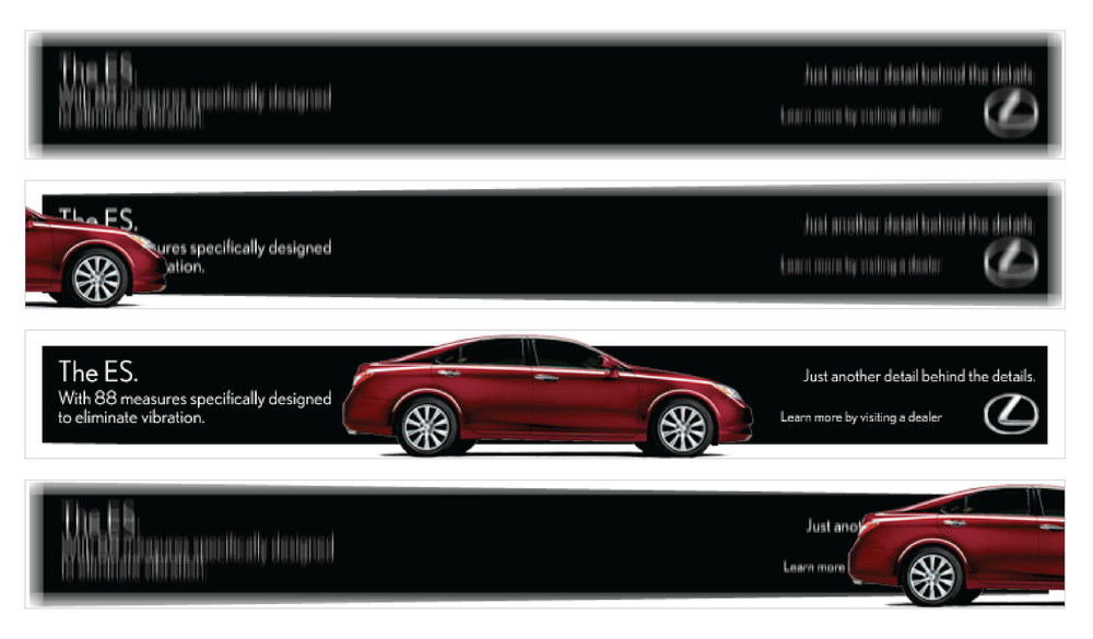 This banner for the Lexus ES shakes and vibrates violently to the point where the copy is unreadable, that is, until the ES rolls up. Suddenly, the entire banner is calm and sharp.