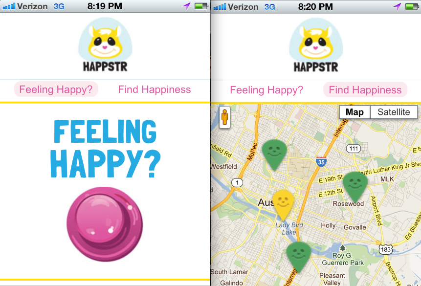 Happstr, the App That Finds Your Happy Place … Literally   Sarah Kessler,  mashable.com    Look­ing for hap­pi­ness? Now there's a map for that.  Mobile web app Happ­str lets users mark the loca­tions at which they're happy on a map and browse for happy spots left by oth­ers near­by.  It was built last week dur­ing a mobile hackathon…
