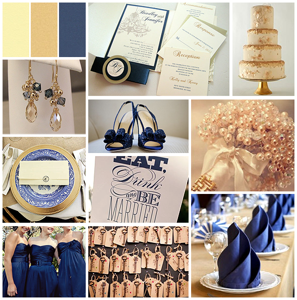 Navy, Tan and Gold