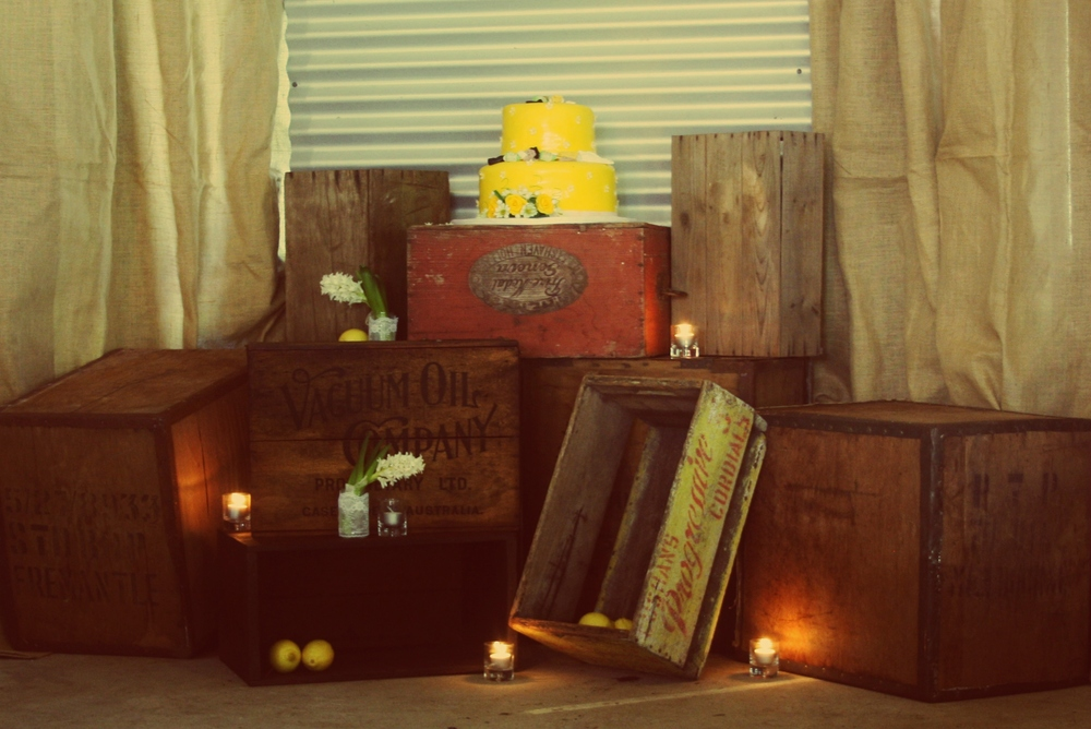 The wedding cake and some crates