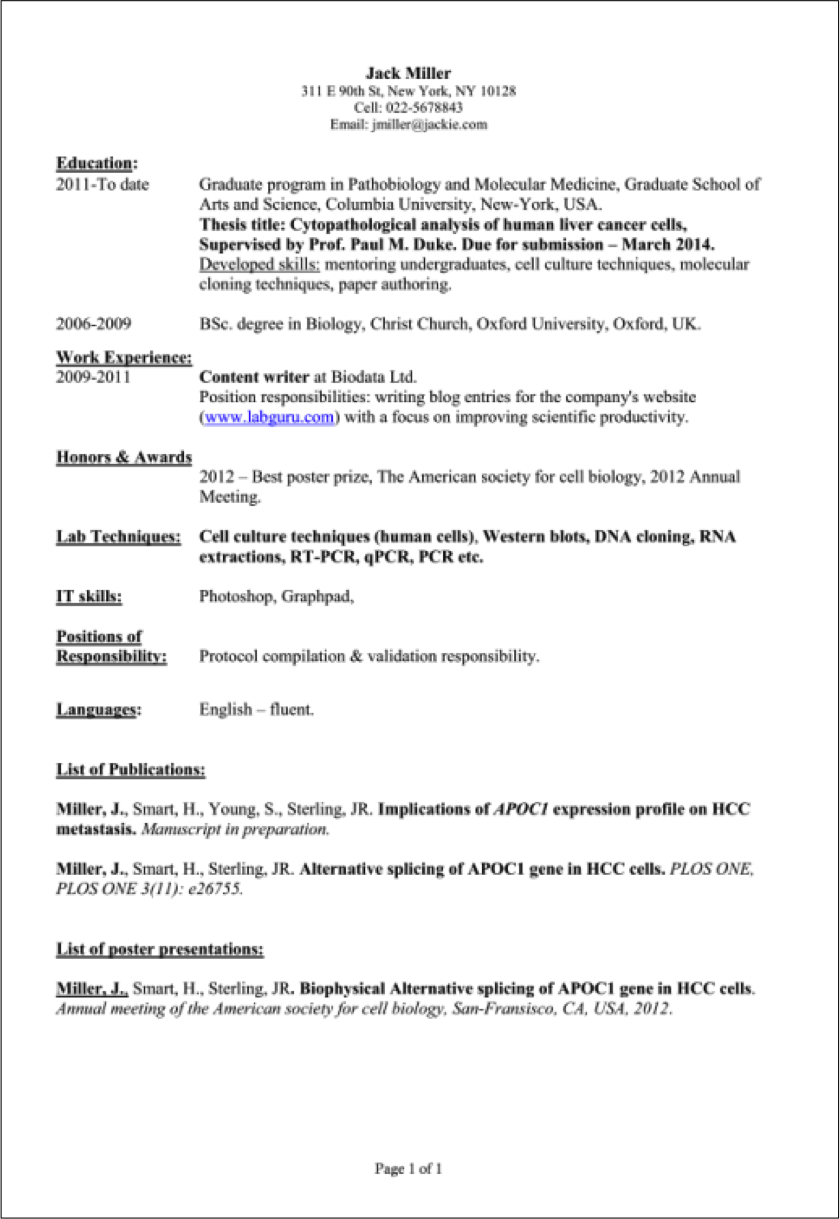 scientific technical writer resume