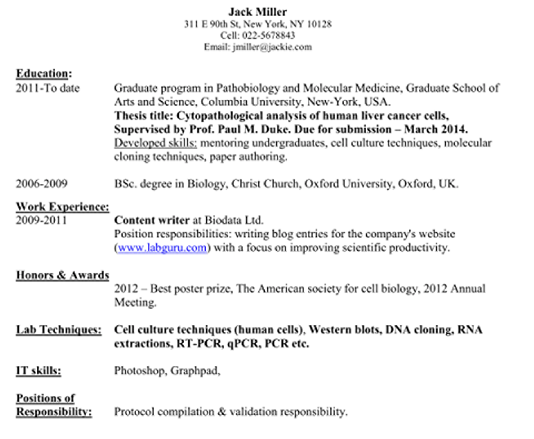 published articles on resume