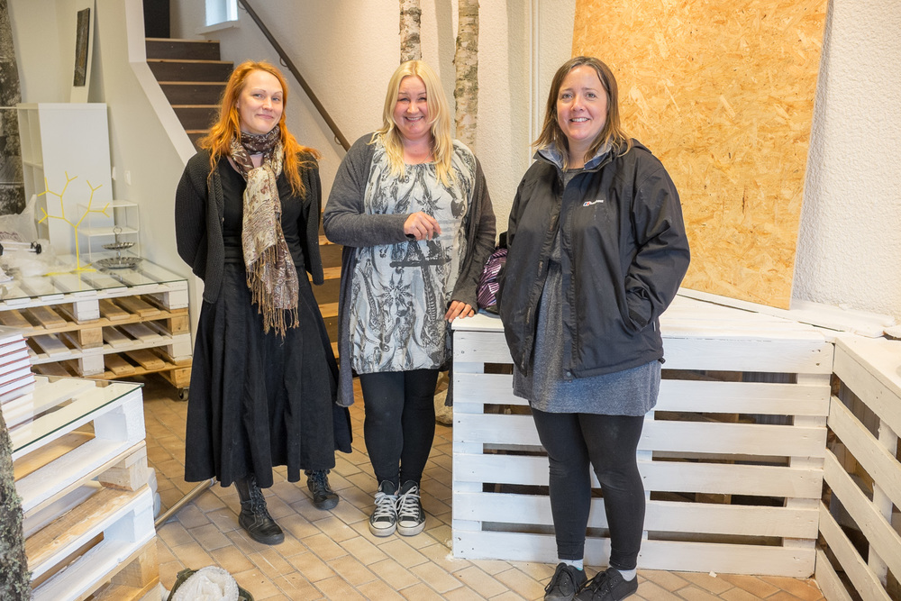 4 days before the opening - from left: artist Outimaija Hakala with Paula & Lisa from Propeller Gallery.