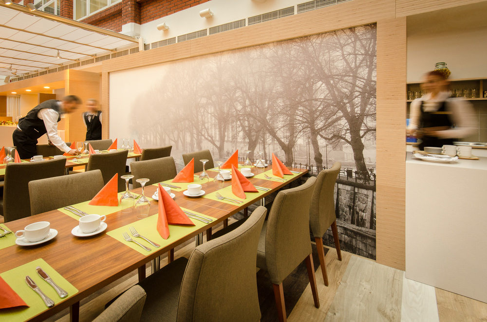 Foggy River , Turku, Finland, 2011 -  Large  400 x 200 cm  photographic wallpaper print on the wall of a restaurant.