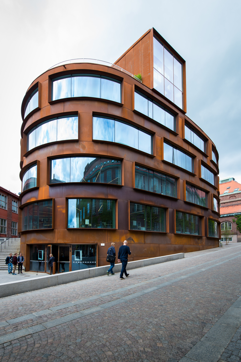 Stockholm's Royal Institute of Technology architecture building with a robust corten steel exterior.