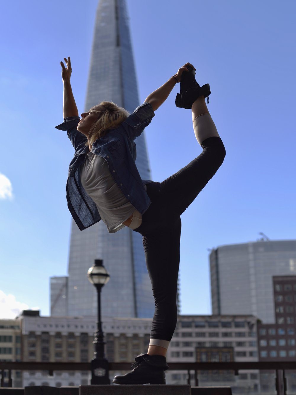 DREAMS   ⫩  Lower Thames Street, The City of London. The Shard, highest building in London, is in the background seen across the river Thames.  Dancer:   Ana Badea