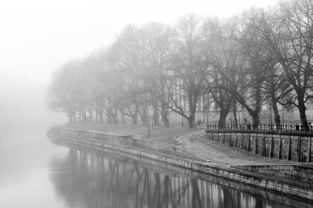 FOGGY RIVER   | View towards the Library building from the Church Bridge