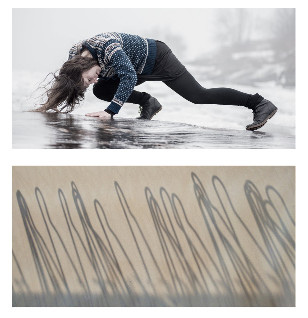 Photo 🅰:   SEA CHANGE SERIES   | Uunisaari, Helsinki, Finland 2016 - dancer: Kristiina Turtiainen Photo 🅱:   HANGERS |   The Place, London, UK - October 2016