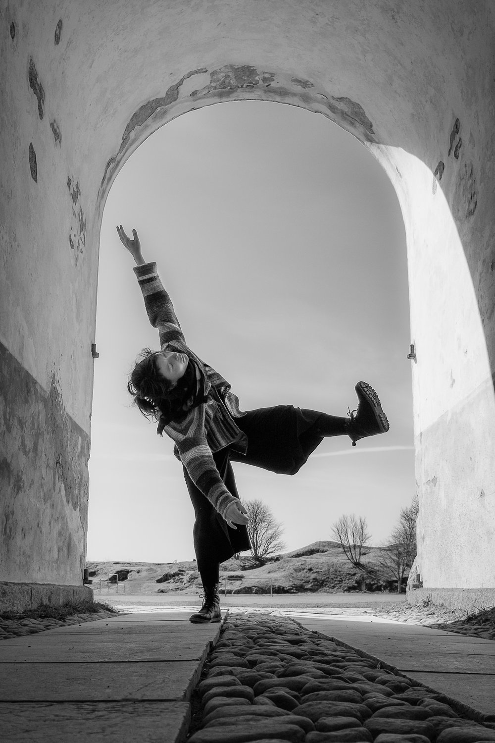 TAKE OFF  🌐 UNESCO World Heritage site | Suomenlinna fortress, Helsinki, Finland | dancer:  Kristiina Turtiainen  Part of my photography series of collaborative improvised modern dance using streets and other public spaces as stages.
