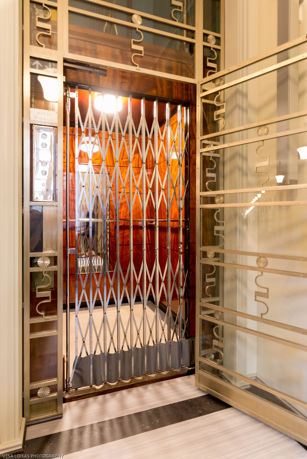 Decorative elevator doors and interiors.