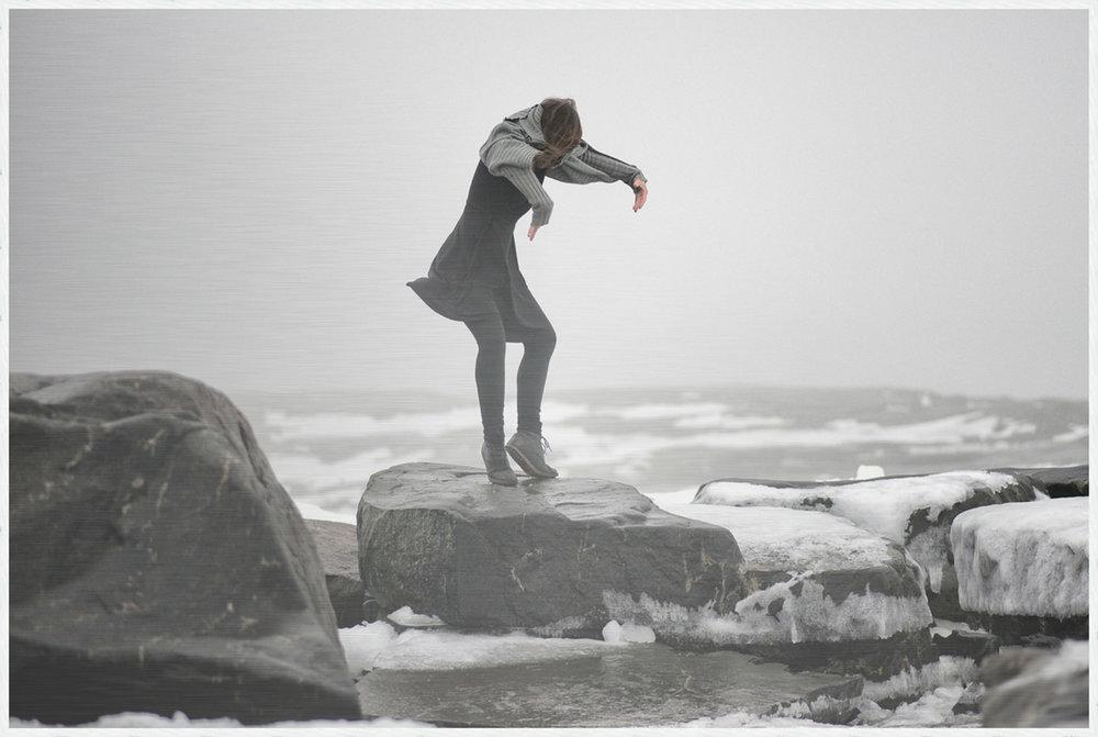SEACHANGE SERIES - ACT I  on Aluminum with White Oak Frame Size: 31 H x 46 W x 4 D [cm] #1/10 SEACHANGE noun: a profound or notable transformation Uunisaari Island, Helsinki, Finland Dancer: Kristiina Turtiainen