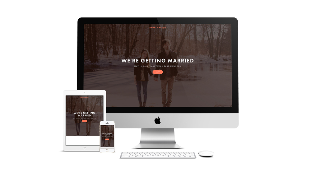 Make the most of all the photographs from your engagement party and wedding day with the Naomi template. Its long scrolling pages and interactive element make it ideal for picture galleries.