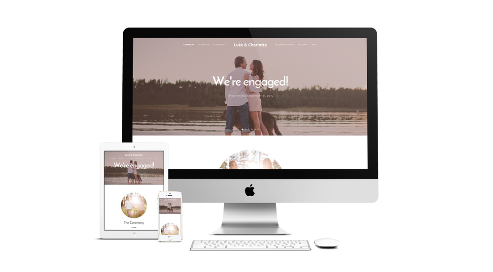 For the fun loving bride and groom, this template is easy to use and showcases photo galleries, a full screen header image and full scrolling navigation.
