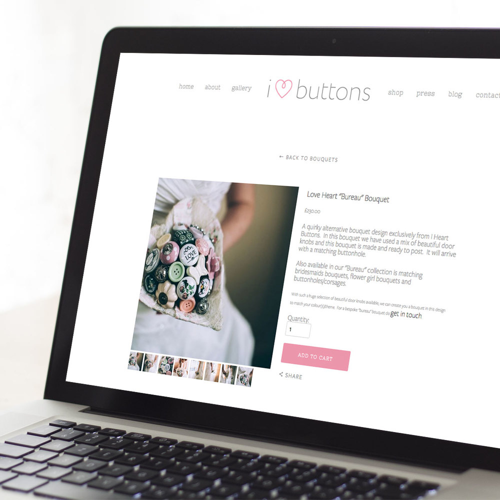 I Love Buttons website PC display