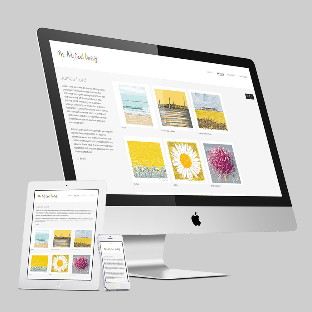 Arty Card Company responsive website