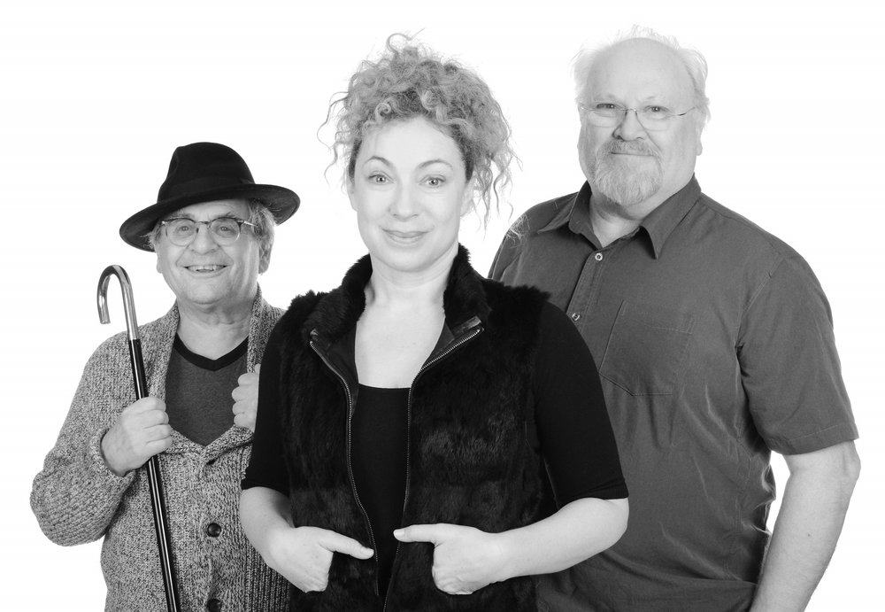 Sylvester McCoy, Alex Kingston, Colin Baker. Photograph:  Tony Whitmore