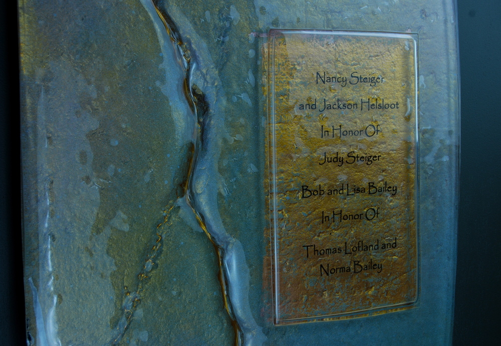 Donor Recognition Panel - Fused and hand-painted glass with bronze and blue color palette.