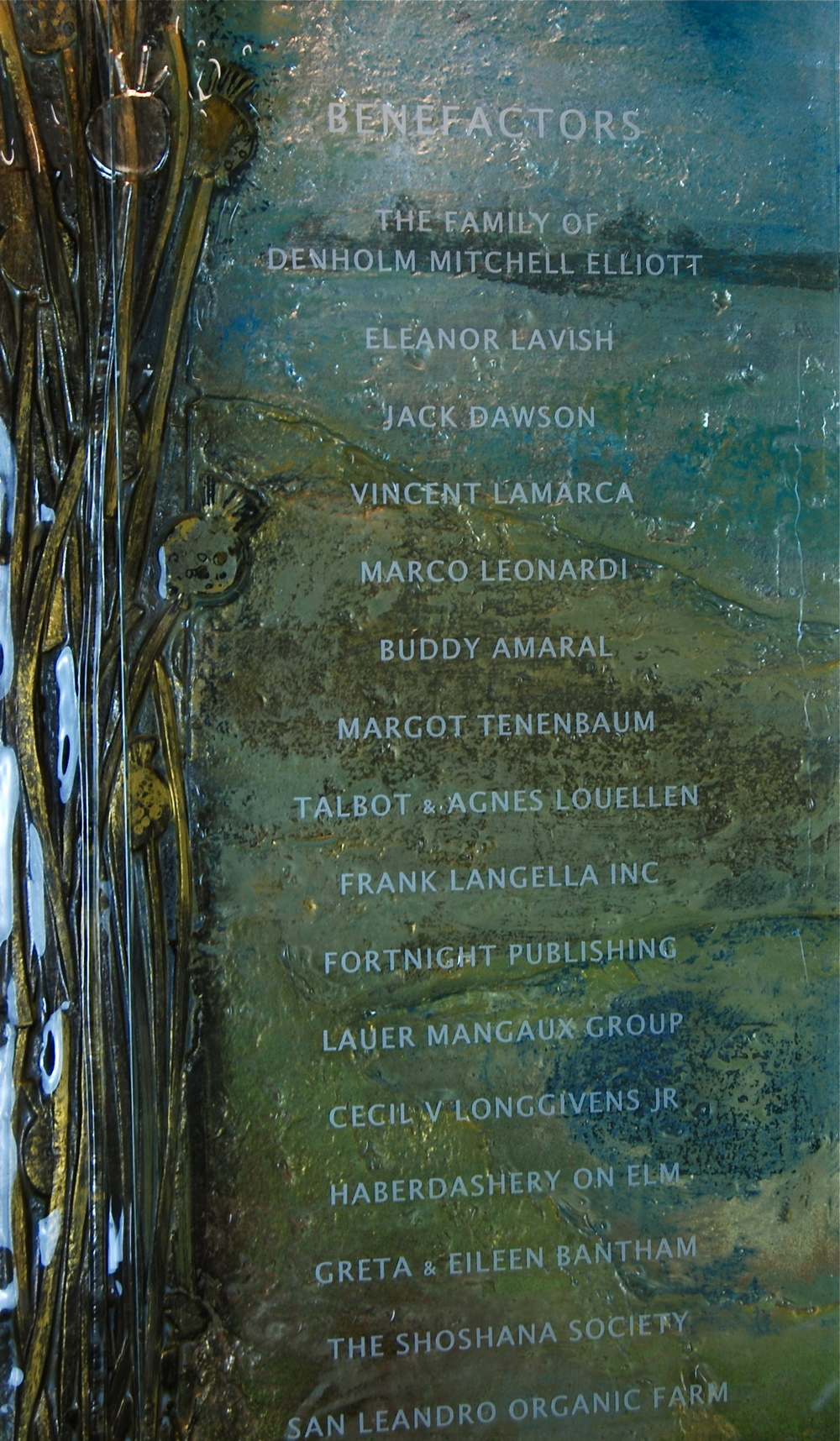 'Faulkner Institute' - Donor Recognition Wall - Fused and hand-painted glass (detail view).