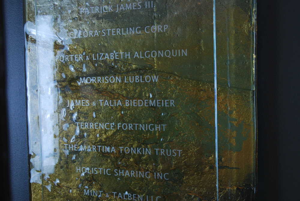 'Faulkner Institute' - Donor Recognition Wall - Fused and hand-painted glass (close up).
