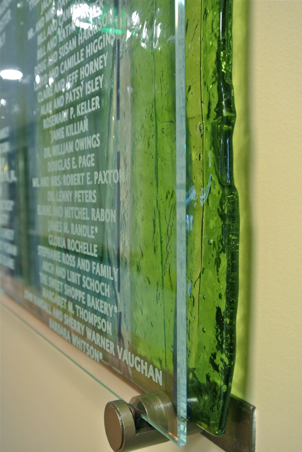 Hospice of the Piedmont (detail) - Donor Recognition Panel - Fused Glass.