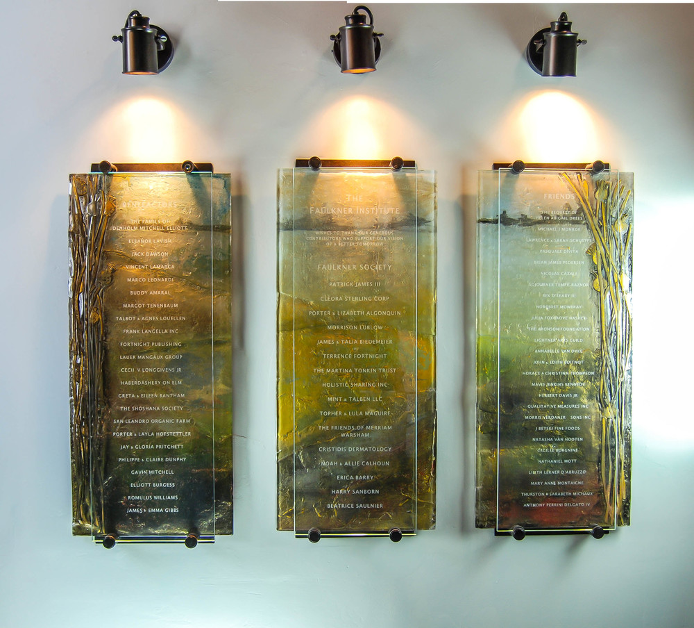 'Faulkner Institute' - Donor Recognition Wall - Fused and hand-painted glass (full view).