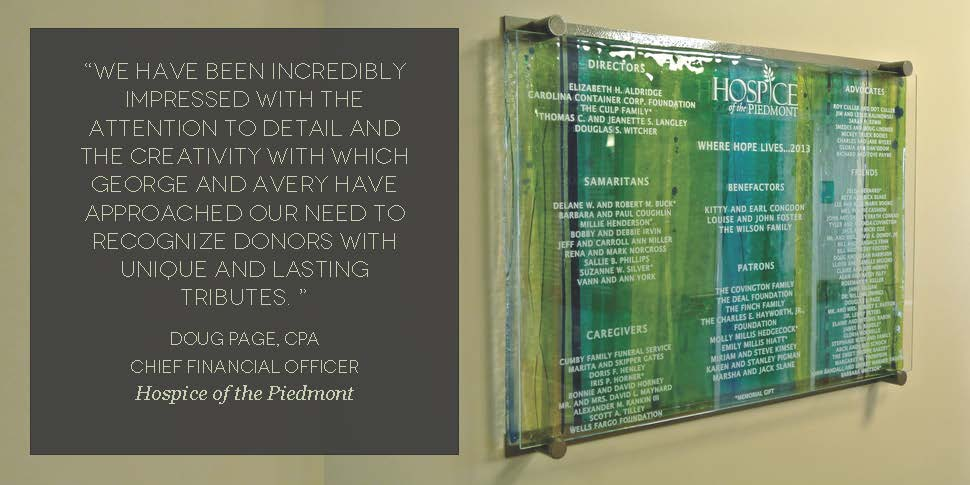 Hospice of the Piedmont (quote) - Donor Recognition Panel - Fused Glass.