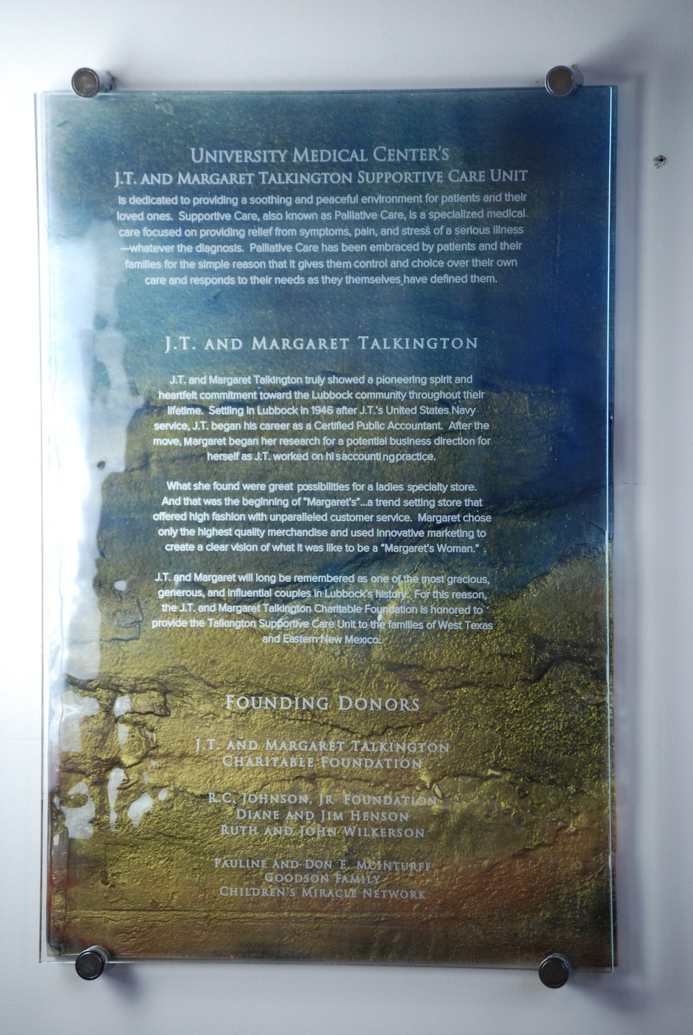 University Medical Center - Donor Recognition Panel - Fused and Hand-Painted Glass.