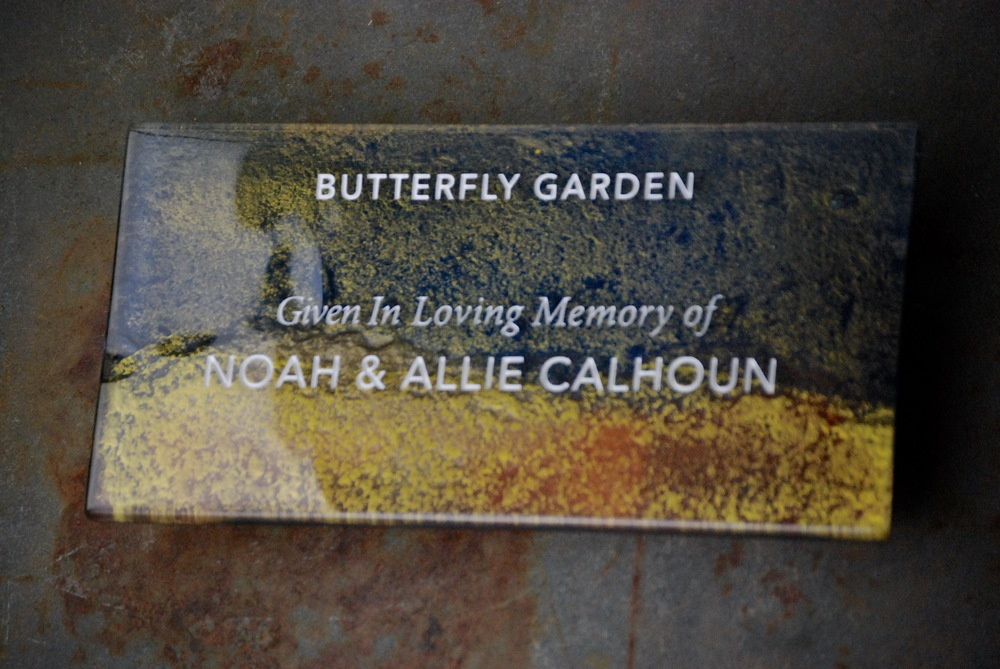 Donor Recognition Plaque - Fused and hand-painted glass in rough-hewn bronze and blue color palette.