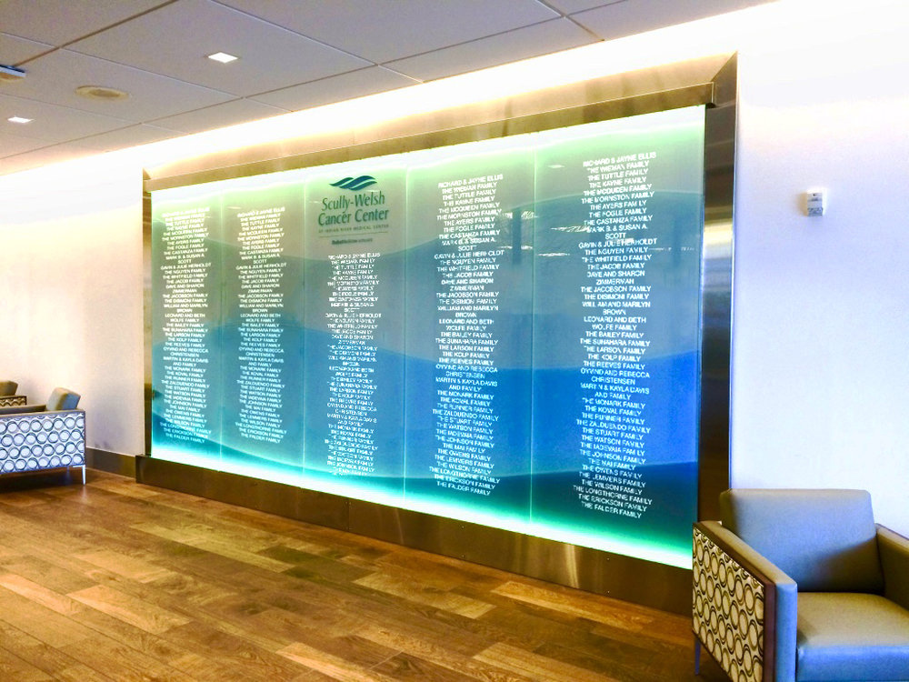 Scully Welsch Cancer Center Glass Donor Wall