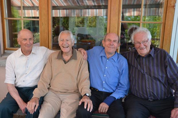Sassen in London 1948 im selben Boot: André Moccand, Emil Knecht, Rudolf Reichling und Erich Schriever (v.l.).