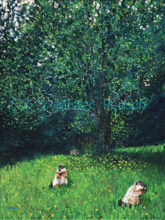 """Woodchucks Eating Apples"""