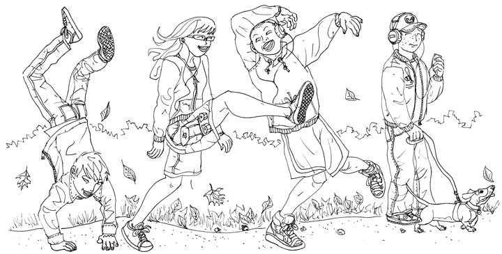 """Wacky Walks"" line art"