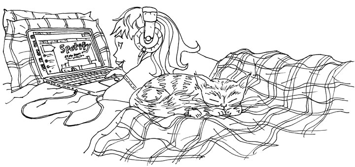 """Check Out Music Online"" line art"