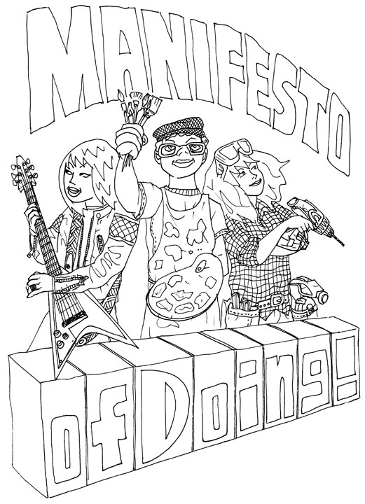 """Manifesto of Doing"" line art"