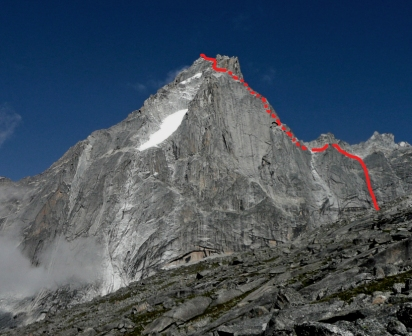 The east face of Seerdengpu - the lower sections of our route can be seen well in this photo.