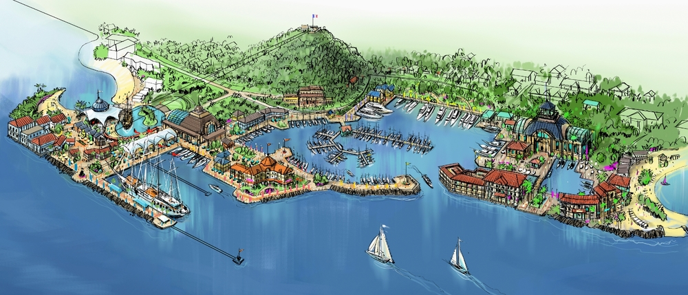 Port of Marigot Aerial Rendering