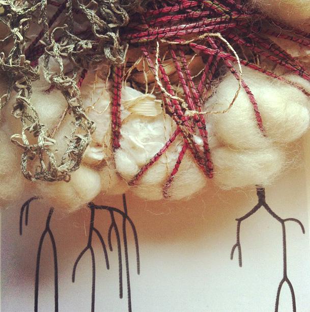 Detail of Lost in Fiber: The Gathering (work in progress) by Abigail