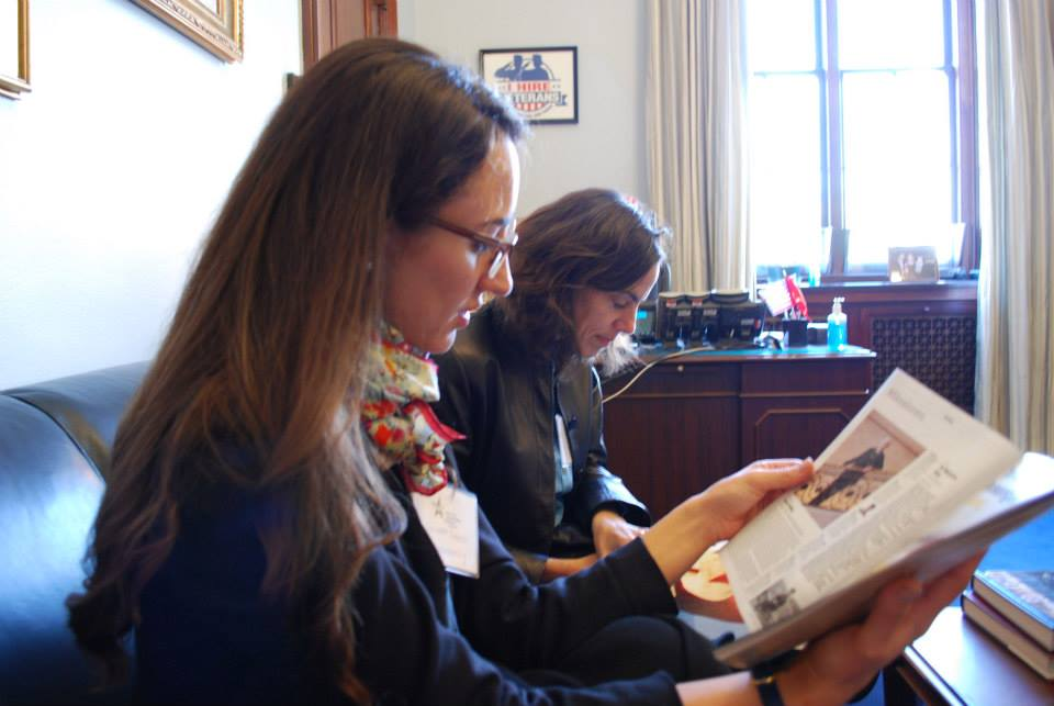 Juliette Donatelli catching up on politics before entering our meeting with Gillibrand's office