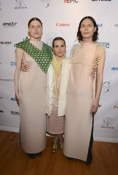 Cristina Gabriele poses with her models at Fall/Winter 2014 NY Fashion Week at Launch NYC