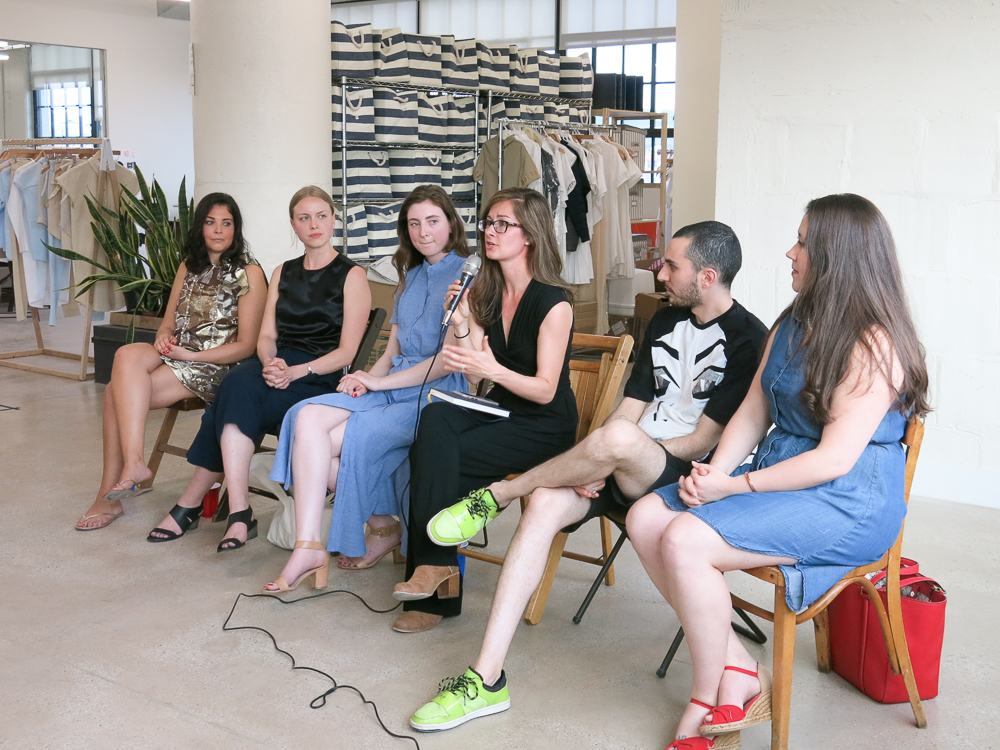 Shannon from Factory45 with the mic, surrounded by our design panel Sarah Valin Bloom, Jessy Syswerda, Emily Bertovich, Daniel Silverstein and Jaclyn Jordan