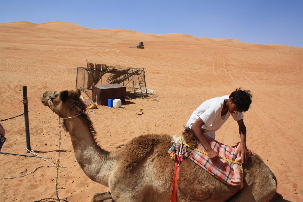 En beduin og hans kamel i Wahiba Sands.Foto: Kjersti S. Macdonald Aursnes