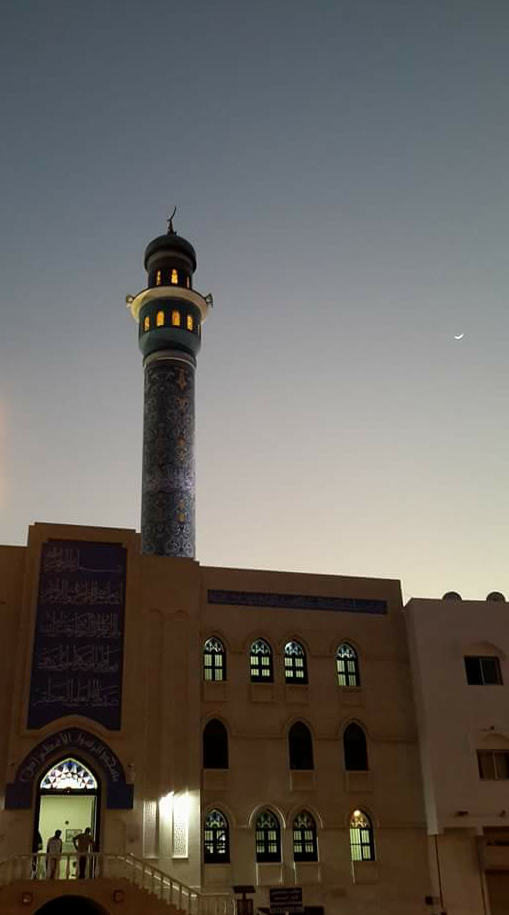 Al-Shjaiah Moskéen i Muttrah ved Magrib, solnedgangsbønnen. Foto:Kjersti S. Macdonald Aursnes