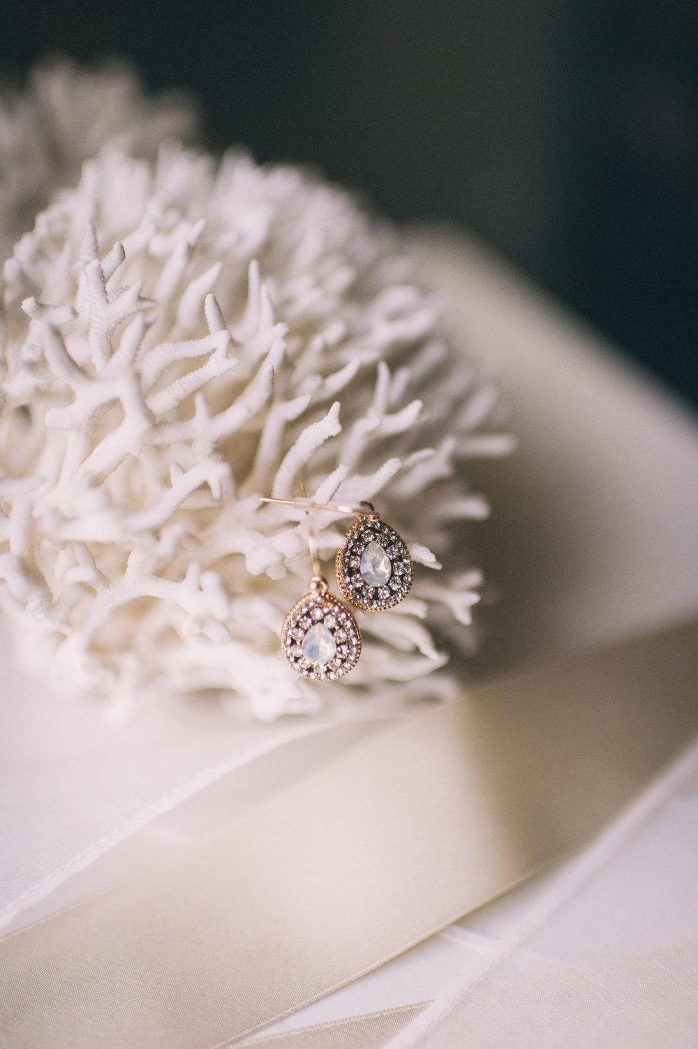 Micaha & Austin // Cozy Autumn Wedding at Springhouse Gardens // Lexington, Kentucky // Wedding Photography // Earrings on Coral